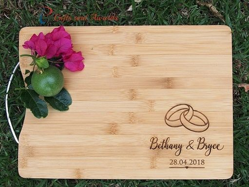 Pt gifts and awards personalised engraved bamboo rectangular cutting