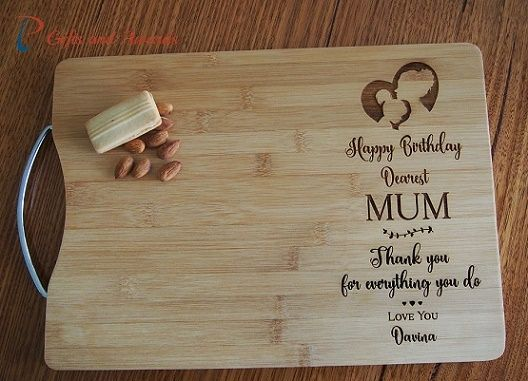 PT Gifts And Awards Personalised Engraved Bamboo Rectangle Cutting Board S Handle Gift For Mum Nana Birthday Her Happy Dearest