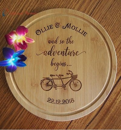 Pt Gifts And Awards Personalised Engraved Bamboo Round Serving Board