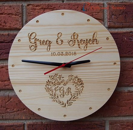 Pt Gifts And Awards Personalised Engraved Wall Clock Round Shape