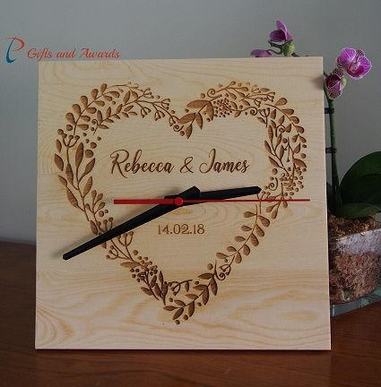 PT Gifts And Awards Personalised Engraved Clock, square shape 25x25x1.2cm - Wedding gift - Anniversary gift - Engagement gift - Valentines gift - Gift for ...