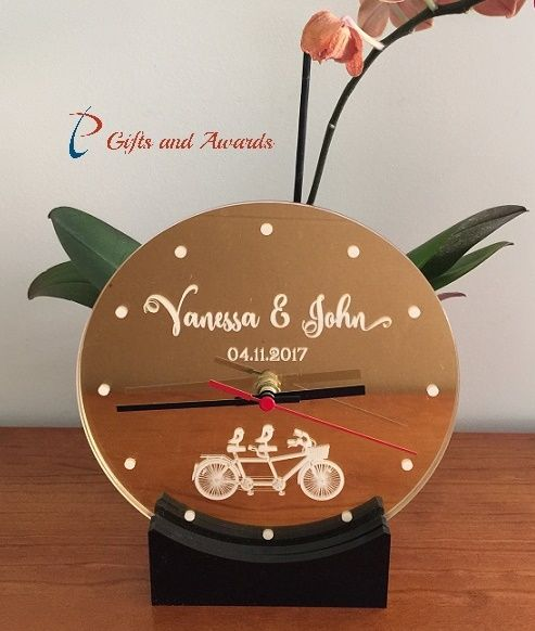 PT Gifts And Awards Personalised Acrylic Engraved Desk Clock with stand - Gift for the couple