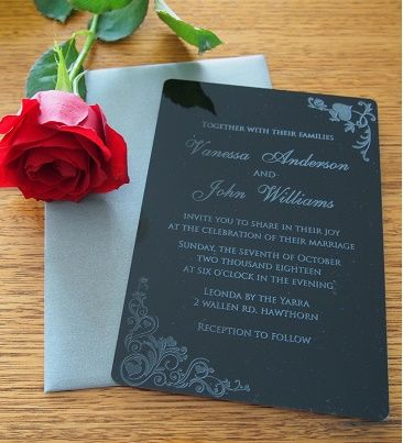 Pt gifts and awards personalised laser engraved acrylic wedding personalised laser engraved acrylic wedding invitation size 12x17cm pack of 25 envelopes included design 6 stopboris Image collections