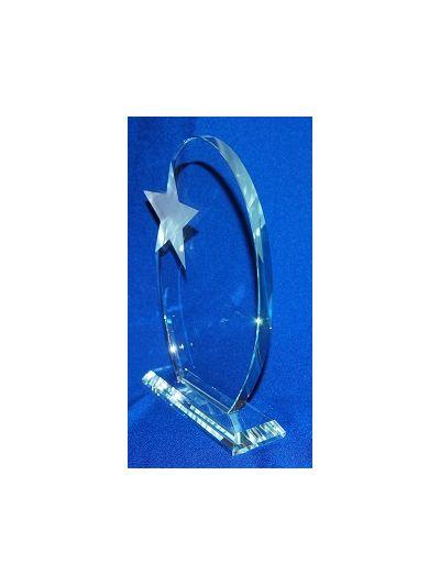 PERSONALISED GLASS WHITE STAR OVAL AWARD ON BEVELED BASE