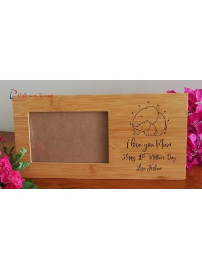 "Personalised Engraved bamboo photo frame-hold 4x6""photo-Gift for Mum-Mothers day gift-Happy 1st Mother's Day-I love you Mum-Elephant image"