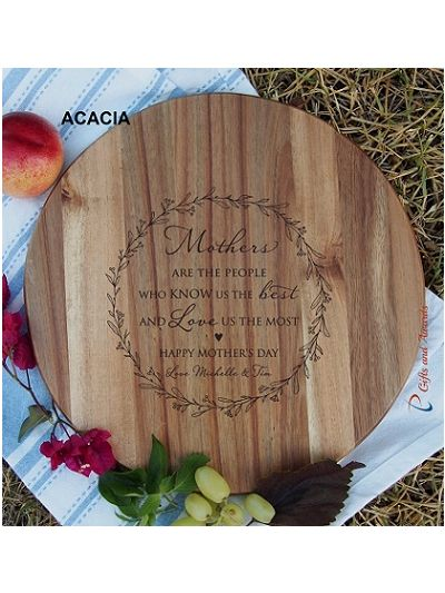 Personalised name-HEVEA/ACACIA wooden round board-cheese board-Mother's Day gift-Happy Mother's Day-Gift for Mum-Mothers are the people who know us the best and love us the most