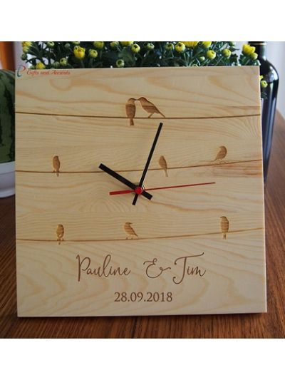 Personalised & Engraved Wood Wall/Desk clock SQUARE shape-Wedding gift-Wedding anniversary gift-Gift for the couple-Valentine gift -Birds on wire