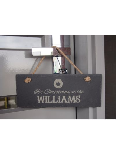 Personalised Slate rectangle hanging sign - It's Christmas