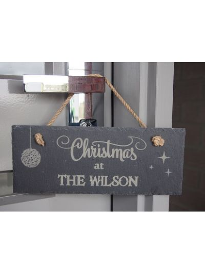 Personalised Slate rectangle hanging sign - Christmas at ...