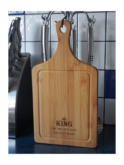 Personalised Bamboo Paddle Cutting Board - KING OF THE KITCHEN