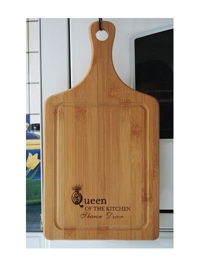 Personalised Bamboo Paddle Cutting Board - QUEEN OF THE KITCHEN