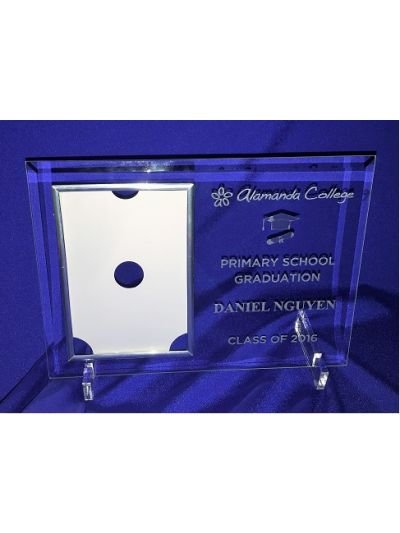 "Primary school Graduation - Personalised Glass Portrait photo frame - hold 6x4"" or 15x10cm photo"