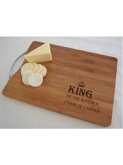 Personalised Bamboo Cutting Board With Stainless Steel Handle - KING of the kitchen