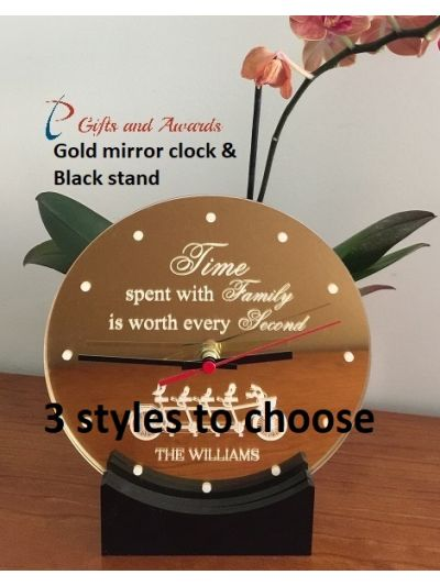 Personalised Acrylic Engraved Desk Clock with stand - Housewarming  Gift - Gift for family