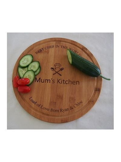 Personalised Bamboo Serving Board, Round Shape - Mum's Kitchen - BEST CHEF IN THE WORLD