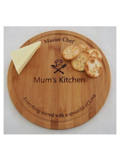 Personalised Bamboo Serving Board, Round Shape diameter 28cm, thickness 1.4cm - Mum's Kitchen - Master Chef