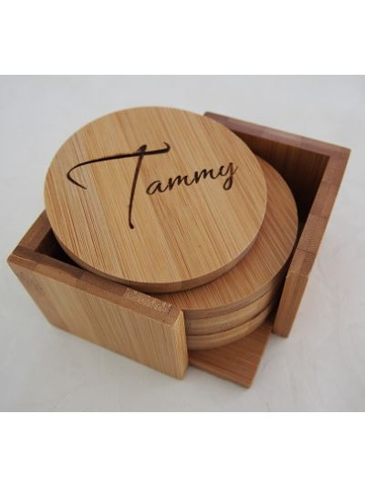Personalised Bamboo Coasters with Holder, Round Shape - First name only - Set of 6