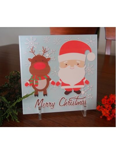 Santa and Christmas Reindeer printing on tile