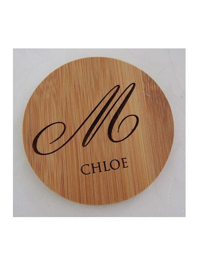 Personalised Bamboo Coasters with Holder, Round Shape - First name and initial of family name - Set of 6
