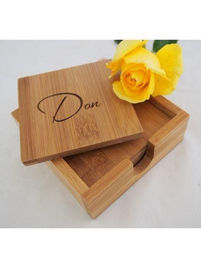 Personalised Bamboo Coaster with Holder, Square Shape - Set of 4