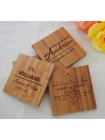 Personalised Bamboo Coaster, Square Shape - Wedding Favours - Set of 25