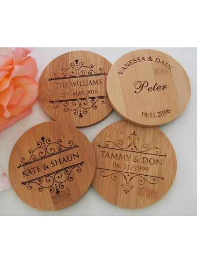 Personalised Bamboo Coaster, Round Shape - Wedding Favours - Set of 25