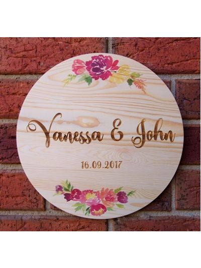 Personalised Solid Pine Wooden Decoration - round shape diameter 30cm, thickness 1cm - Valentine's Day /  Anniversary / Wedding