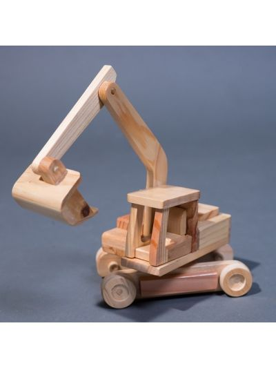 Wooden Assembly Excavator BOBCAT Truck - Build and Play - Eco Friendly,  Unpainted, Clear Coated Wooden Craft