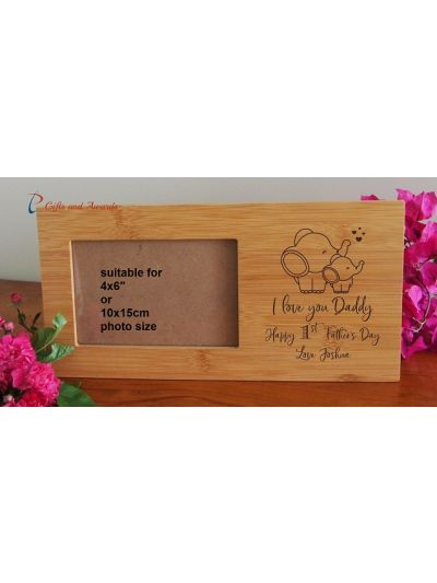 "Personalised Engraved Bamboo photo frame- holds 4x6""photo- Gift for Dad-First Father's day gift- Birthday gift for him- I love you Daddy - Elephants and hearts"