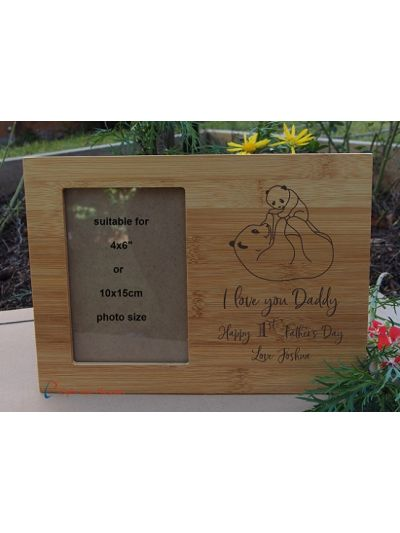 "Personalised Engraved Bamboo photo frame- holds 4x6""photo- Gift for Dad-First Father's day gift- Birthday gift for him- I love you Daddy - Panda image"