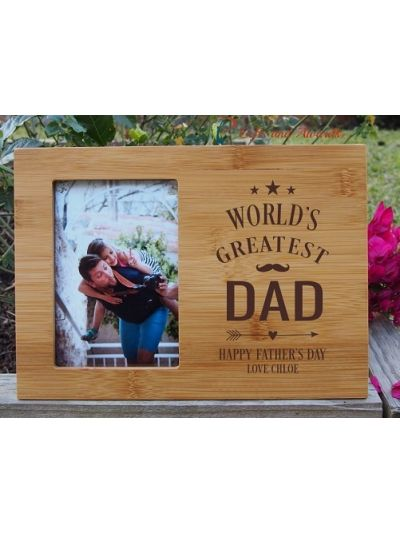 "Personalised Bamboo Engraved photo frame, hold4x6""photo-Gift for Dad-Father's day gift-Birthday gift for Dad-World's Greatest DAD"
