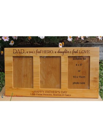 "Personalised Engraved Wall/Desk bamboo photo frame-hold three 4x6"" photos-Gift for Dad-Father's day gift-Birthday gift-Dad, a son's first HERO, a daughter's first LOVE"