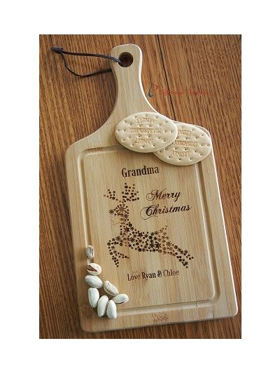 Personalised Engraved Bamboo Small Paddle Serving Board - Christmas gift for Grandma - Christmas gift for Mum - Gift for her - Merry Christmas