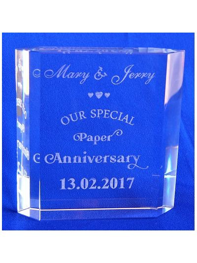 PERSONALISED CRYSTAL CUT BOOK BLOCK - Wedding Anniversary