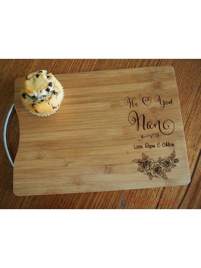Personalised Engraved Bamboo rectangle cutting board S/S handle-Gift for Mum/Grandma-Birthday gift for her-Mothers day gift- We love you Nan