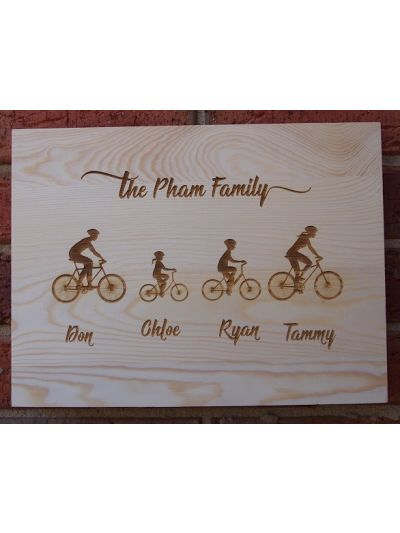 Personalised Engraved Solid Pine Wooden Decoration Sign - Rectangular shape 36x27x1.2cm - Family on bicycles