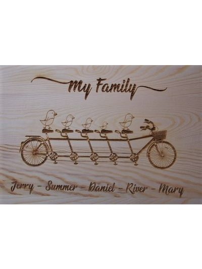 Personalised Engraved Solid Pine Wooden Decoration Sign - Rectangular shape 36x27x1.2cm - Family on the same bicycle