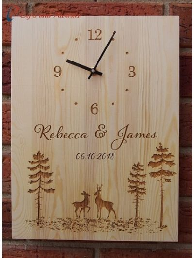 Personalised Engraving - Wood Wall Clock RECTANGLE shape-Wedding gift-Wedding Anniversary gift-Gift for the couple- Two Deers in the forest