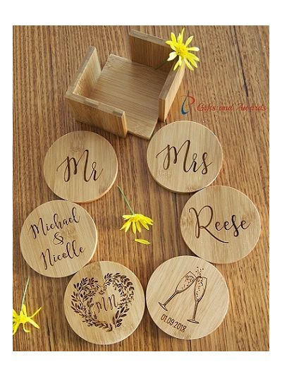 Personalised Bamboo Engraved ROUND Coasters with Holder-Set of 6 - Wedding gift - Anniversary gift - Valentines gift -Gift for the couple-CLINKING GLASSES