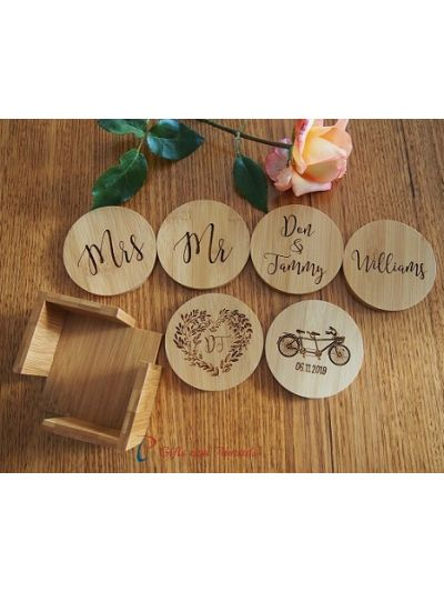 Personalised Bamboo Engraved ROUND Coasters with Holder-Set of 6 - Wedding gift - Anniversary gift - Valentines gift -Gift for the couple- Bicycle