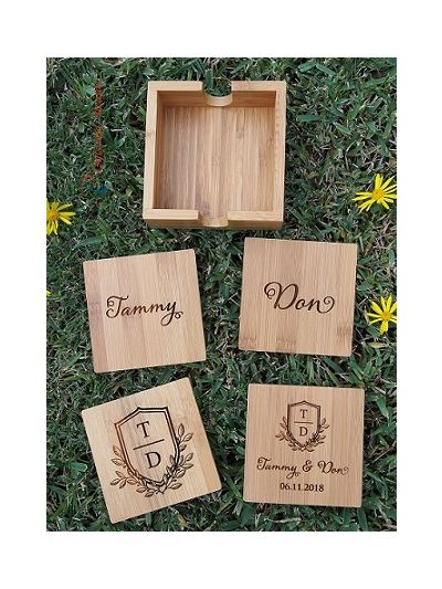 Personalised Bamboo Engraved Square Coasters with Holder, Set of 4 - Wedding gift - Anniversary gift - Engagement gift - Gift for the couple