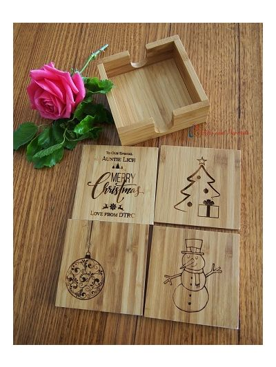 Personalised Bamboo Engraved Coasters with Holder, Square Shape - Set of 4 - Christmas gift - Gift for Mum - Gift for everyone