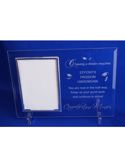 "Congratulations! - Personalised Glass photo frame - hold 6x4"" or 15x10cm photo"