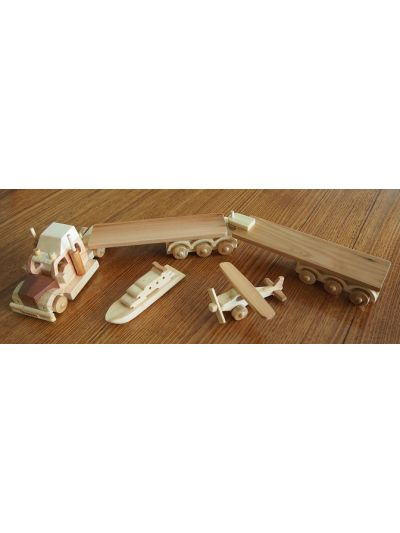 Wooden Double Trailer Truck with one small airplane and one small boat - Eco Friendly,  Unpainted, Clear Coated Wooden Craft