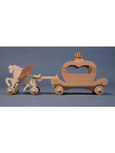 Wooden Couple Horses Carriage - Eco Friendly, Unpainted, Clear Coated Wooden Craft