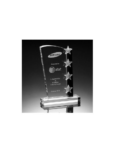 Personalised Crystal Award with 4 Stars