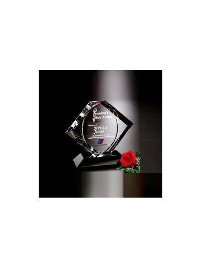 Personalised Crystal Plaque Award with Black Base
