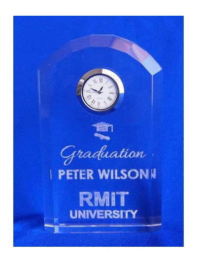 Personalised Engraved Crystal Dome Shape Desk Clock - University graduation