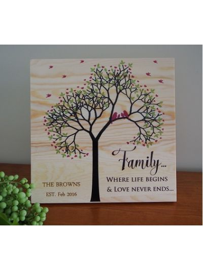 Personalised Solid Pine Wooden Decoration - Family... Where Life begins and Love never ends