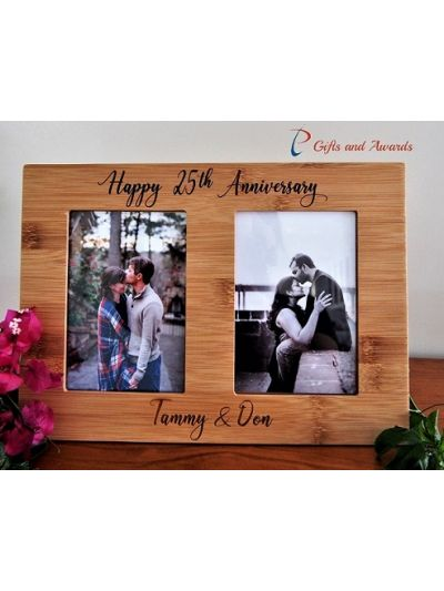 "Personalised Engraved Wall/Desk bamboo photo frame - hold two 4x6"" photos (vertical)-Anniversary gift-Gift for couple-Happy 25th Anniversary"
